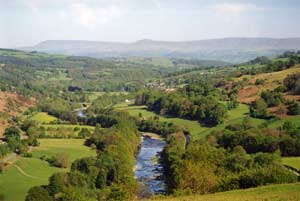 A view of the Upper Wye Valley in Powys